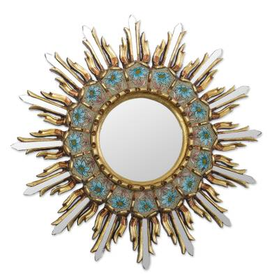Bronze Gilded Reverse-Painted Glass Wood Wall Mirror
