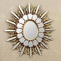 Bronze gilded wood wall mirror, 'Beautiful Blaze' - Tendril Pattern Bronze Gilded Wood Wall Mirror from Peru