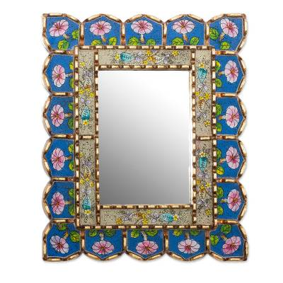 Floral Motif Bronze Gilded Reverse-Painted Glass Wall Mirror