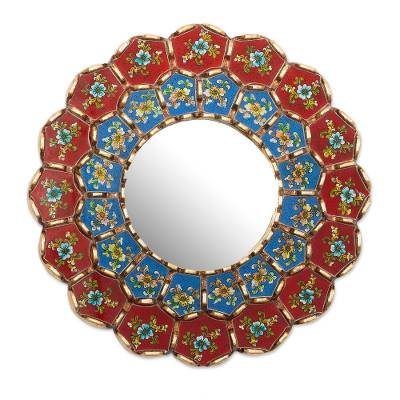 Bronze Gilded Wood Wall Mirror with Painted Flowers
