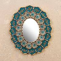 Bronze gilded reverse-painted glass wall mirror, 'Colonial Arrangements' - Hand-Painted Floral Bronze Glided Wood Wall Mirror