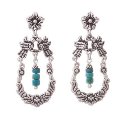 Bird-Themed Chrysocolla Dangle Earrings from Peru