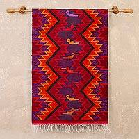 Wool tapestry, 'Hummingbird Geometry' - Hummingbird Motif Geometric Wool Tapestry from Peru