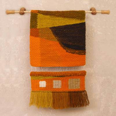 Wool tapestry, 'Mountain Abstraction' - Handwoven Earth-Tone Abstract Wool Tapestry from Peru