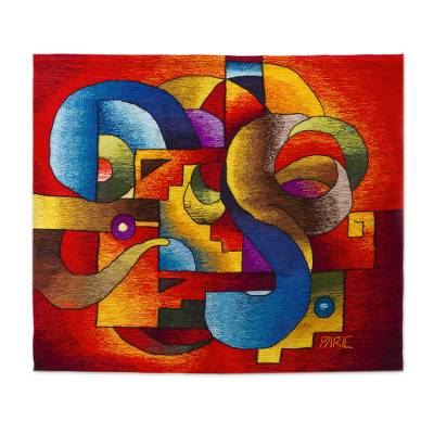 Handwoven Colorful Abstract Alpaca Blend Tapestry from Peru
