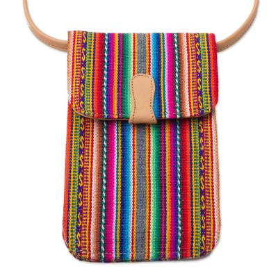 Andean Leather Accented Wool Blend Cell Phone Bag from Peru
