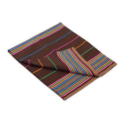 Colorful Striped Alpaca Blend Throw in Espresso from Peru