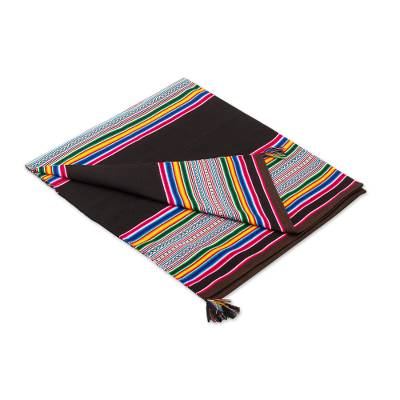Colorful Striped Acrylic Throw Blanket from Peru