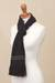 Alpaca blend scarf, 'Simplicity' - Black Alpaca Blend Scarf with Umber Stripes from Peru (image 2c) thumbail