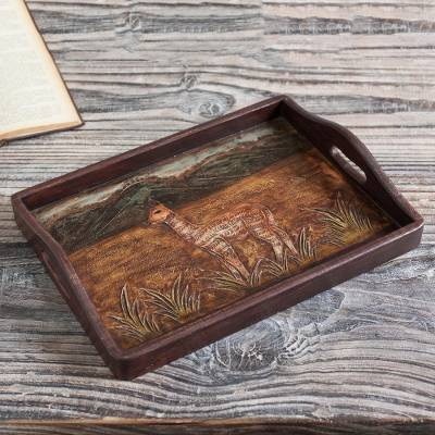 Leather and wood decorative tray, 'Andean Vicuña' - Vicuña-Themed Leather and Wood Decorative Tray from Peru