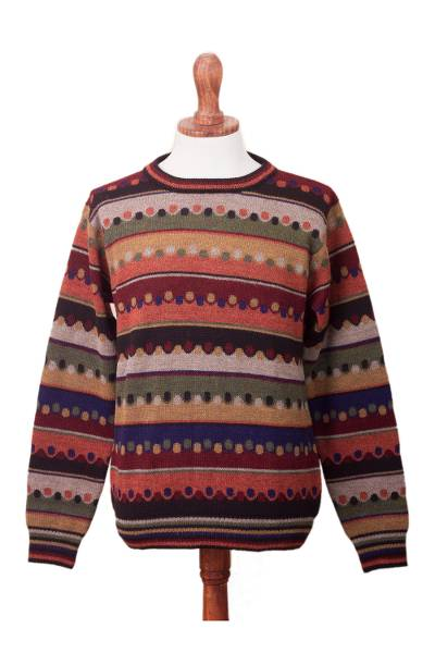 Men's 100% alpaca pullover, 'Autumnal Andes' - Men's Striped 100% Alpaca Pullover Sweater from Peru