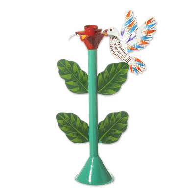 Floral Hummingbird Metal Candle Holder in Teal from Peru