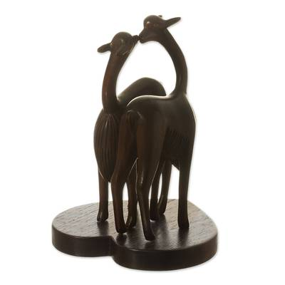 Wood sculpture, 'Enamored Vicuñas' - Romantic Vicuña-Themed Wood Sculpture from Peru