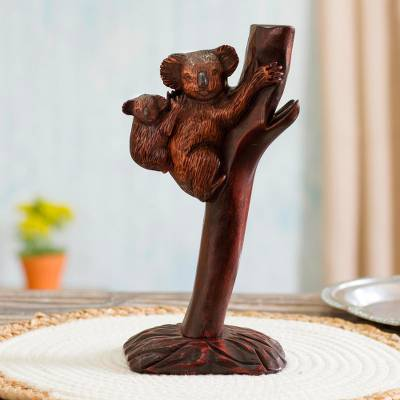 Wood sculpture, 'Koala Mother' - Cedar Wood Koala Mother Sculpture from Peru
