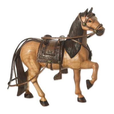 Wood and leather sculpture, 'Saddled Horse' - Wood Horse Sculpture with Leather from Peru