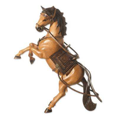 Cedar Wood and Leather Rearing Bay Horse Sculpture from Peru