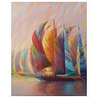 'Party Colors' - Signed Expressionist Painting of Colorful Sailboats