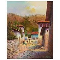 'Tomayquichua' - Impressionist Painting of Tomayquichua Village in Peru