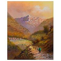 'Traditional Paths' - Signed Impressionist Painting of Peruvian Mountain Paths