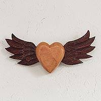 Wood wall art, 'Heart with Wings' - Winged Heart Cedar Wood Wall Art from Peru