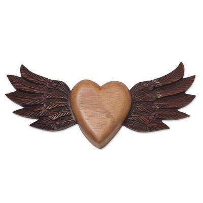 Wood wall art, 'Heart with Wings' - Winged Heart Cedar Wood Wall Art from Peru