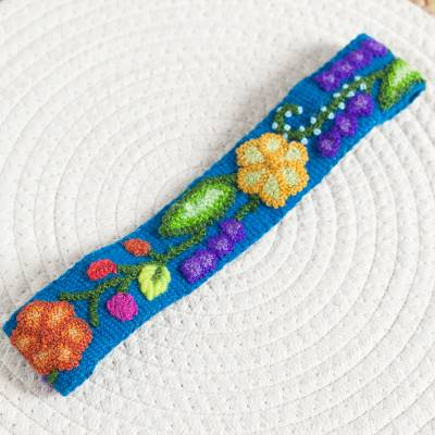 Wool headband, 'Teal Garden' - Embroidered Floral Wool Headband in Teal from Peru