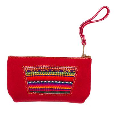 Wool Accented Crimson Suede Wristlet from Peru