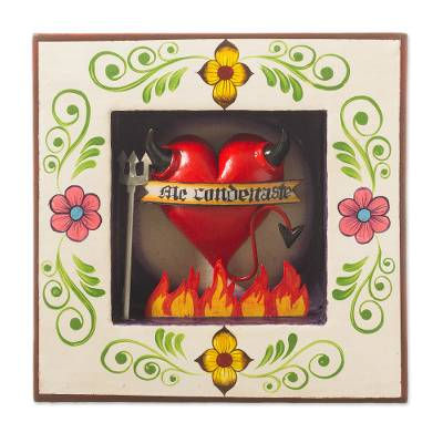 Ceramic and wood wall sculpture, 'Devilish Heart' - Devil Heart-Themed Ceramic and Wood Wall Sculpture from Peru