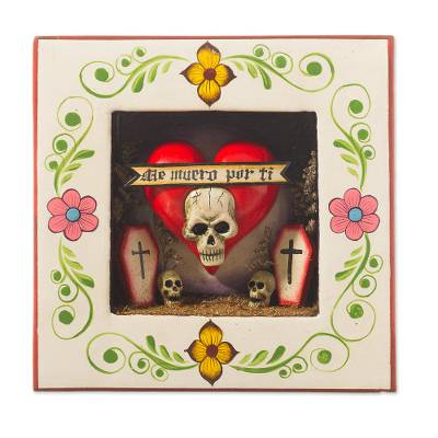 Ceramic and wood wall sculpture, 'Love You to Death' - Skull and Heart-Themed Ceramic and Wood Wall Sculpture