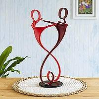 Steel sculpture, 'Friends Forever in Red' - Friendship-Themed Steel Sculpture in Red from Peru