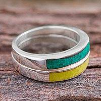 Serpentine and chrysocolla band rings, 'Dual Enchantment' (pair)