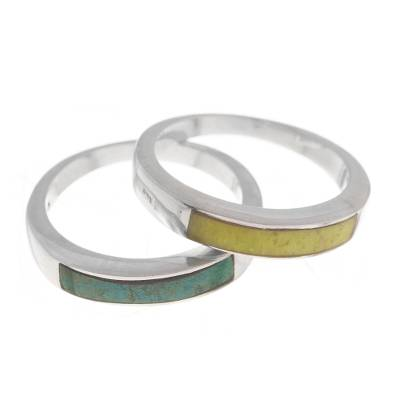 Serpentine and Chrysocolla Band Rings from Peru (Pair)