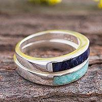 Sodalite and amazonite band rings, 'Dual Enchantment' (pair) - Sodalite and Amazonite Band Rings from Peru (Pair)