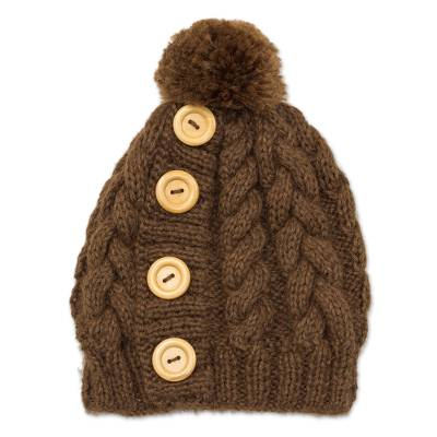 Alpaca blend hat, 'Lovely Cable in Chestnut' - Cable Pattern Alpaca Blend Hat in Chestnut from Peru