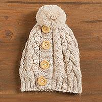 Alpaca blend hat, 'Lovely Cable in Ivory' - Cable Pattern Alpaca Blend Hat in Ivory from Peru