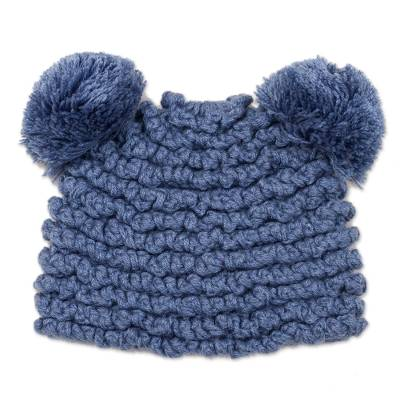 Hand-Crocheted Alpaca Blend Hat with Pompoms in Steel Blue
