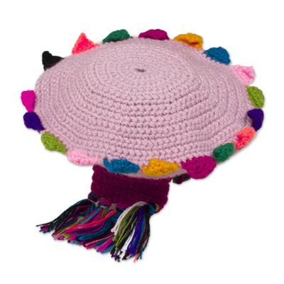 Crocheted Alpaca Blend Chullo Hat in Blush from Peru