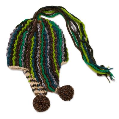 Crocheted Alpaca Blend Chullo Hat in Green from Peru