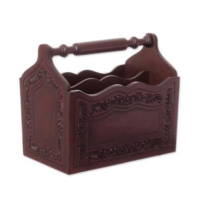 Colonial Leather and Wood Magazine Holder from Peru