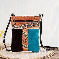 Leather accented suede sling, 'The Llama Way' - Brown and Teal Llama Pattern Leather Accented Suede Sling