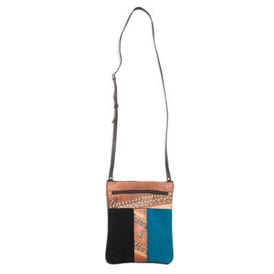 Brown and Teal Llama Pattern Leather Accented Suede Sling