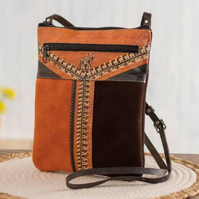 Leather accented suede sling, 'Mountain Llama' - Llama Pattern Leather Accented Suede Sling in Brown