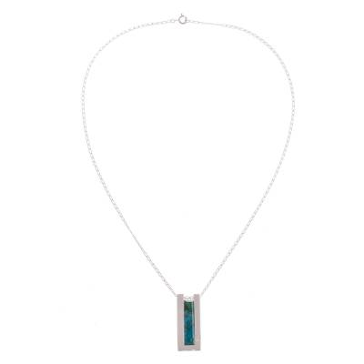 Chrysocolla pendant necklace, 'Contemporary Minimalist' - Modern Chrysocolla Pendant Necklace Crafted in Peru