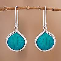 Natural leaf dangle earrings, 'Leaf Drops in Aqua' - Drop-Shaped Natural Leaf Dangle Earrings in Aqua fro Peru