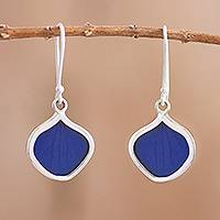 Natural leaf dangle earrings, 'Leaf Drops in Blue' - Drop-Shaped Natural Leaf Dangle Earrings in Blue fro Peru