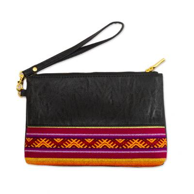 Black Faux Leather and Colorful Fabric Wristlet from Peru