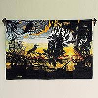 Wool tapestry, 'Sunset in Villa Rica' - Wool tapestry