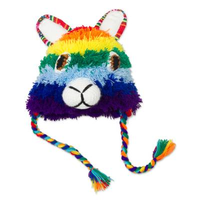 Hand-Crocheted Rainbow Llama Hat Crafted in Peru