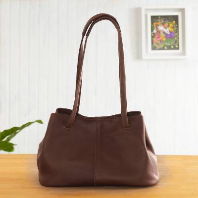 Leather shoulder bag, 'Stylish in Brown' - Versatile Hand Crafted Brown Leather Shoulder Bag