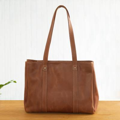 Leather tote shoulder bag, 'In Style in Tan' - Tan Leather Tote Bag Handmade in Peru